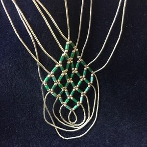 Liquid Silver Malachite Necklace & Earrings